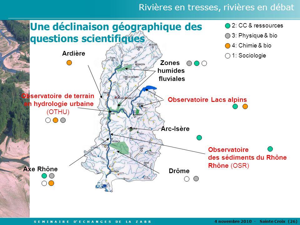 S E M I N A I R E D E C H A N G E S D E L A Z A B R 4 novembre 2010 - Sainte Croix (26 ) Rivières en tresses, rivières en débat 2: CC & ressources 3: