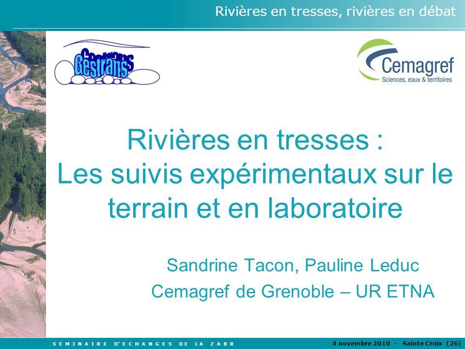 S E M I N A I R E D E C H A N G E S D E L A Z A B R 4 novembre 2010 - Sainte Croix (26 ) Rivières en tresses, rivières en débat Rivières en tresses :