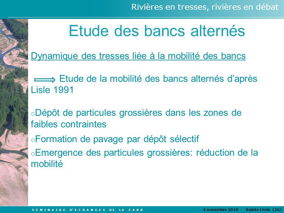 S E M I N A I R E D E C H A N G E S D E L A Z A B R 4 novembre 2010 - Sainte Croix (26 ) Rivières en tresses, rivières en débat Etude des bancs altern