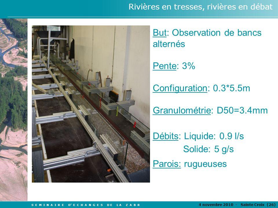S E M I N A I R E D E C H A N G E S D E L A Z A B R 4 novembre 2010 - Sainte Croix (26 ) Rivières en tresses, rivières en débat But: Observation de ba