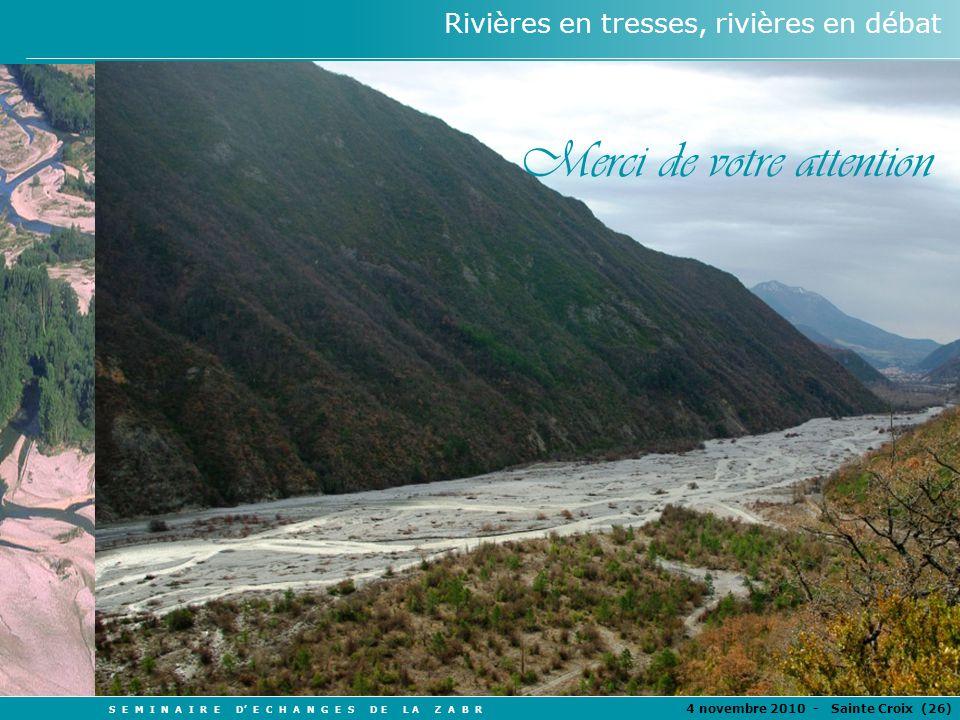S E M I N A I R E D E C H A N G E S D E L A Z A B R 4 novembre 2010 - Sainte Croix (26 ) Rivières en tresses, rivières en débat Merci de votre attenti