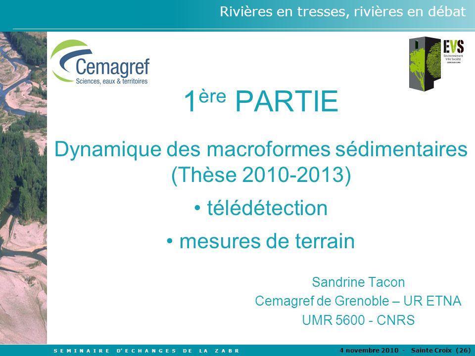 S E M I N A I R E D E C H A N G E S D E L A Z A B R 4 novembre 2010 - Sainte Croix (26 ) Rivières en tresses, rivières en débat 1 ère PARTIE Dynamique