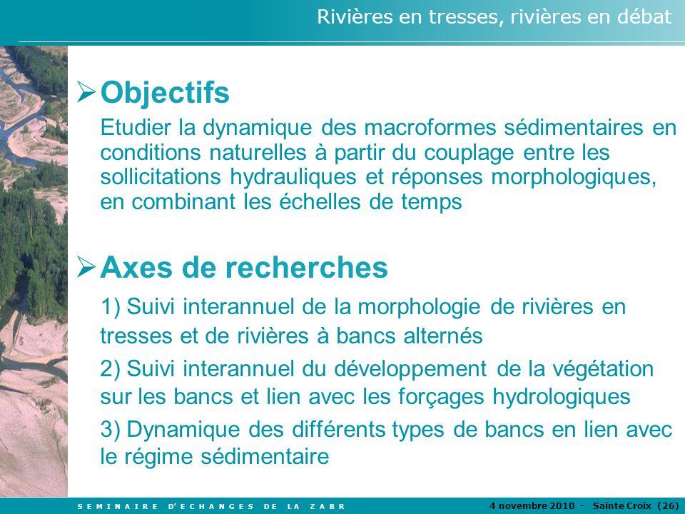 S E M I N A I R E D E C H A N G E S D E L A Z A B R 4 novembre 2010 - Sainte Croix (26 ) Rivières en tresses, rivières en débat Objectifs Etudier la d