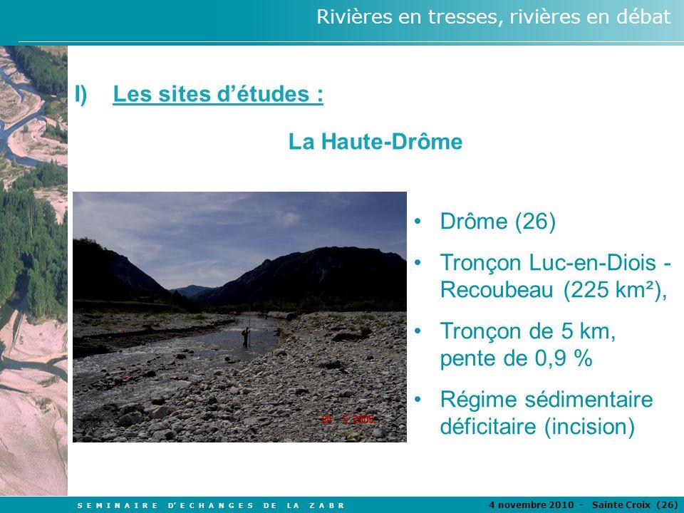 S E M I N A I R E D E C H A N G E S D E L A Z A B R 4 novembre 2010 - Sainte Croix (26 ) Rivières en tresses, rivières en débat Drôme (26) Tronçon Luc