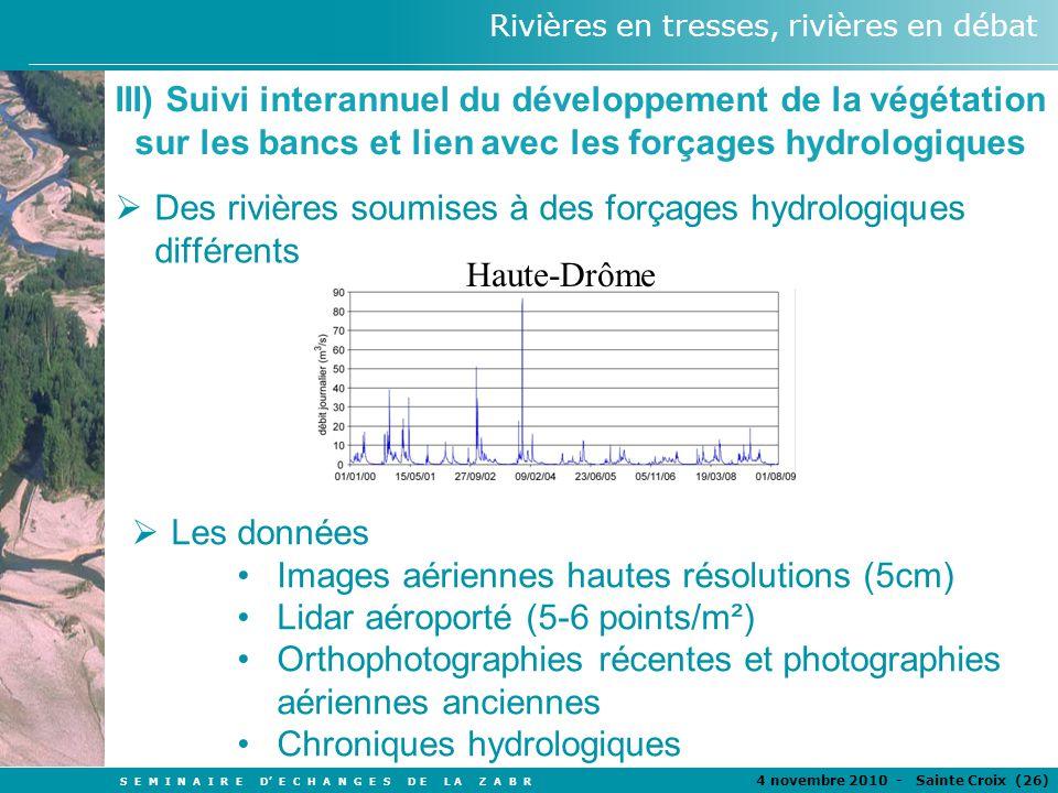S E M I N A I R E D E C H A N G E S D E L A Z A B R 4 novembre 2010 - Sainte Croix (26 ) Rivières en tresses, rivières en débat III) Suivi interannuel