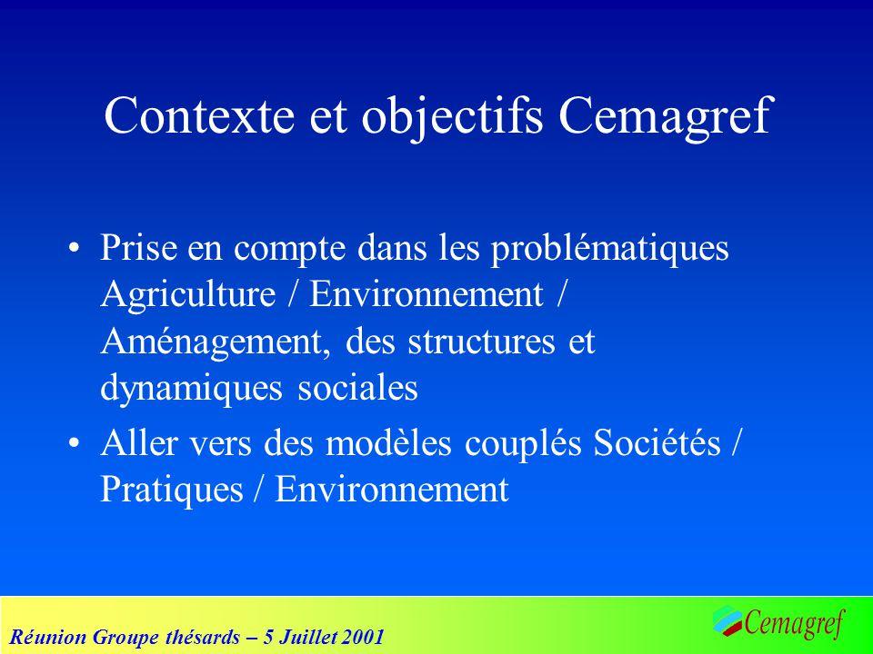 Réunion Groupe thésards – 5 Juillet 2001 Contexte et objectifs Cemagref Prise en compte dans les problématiques Agriculture / Environnement / Aménagem