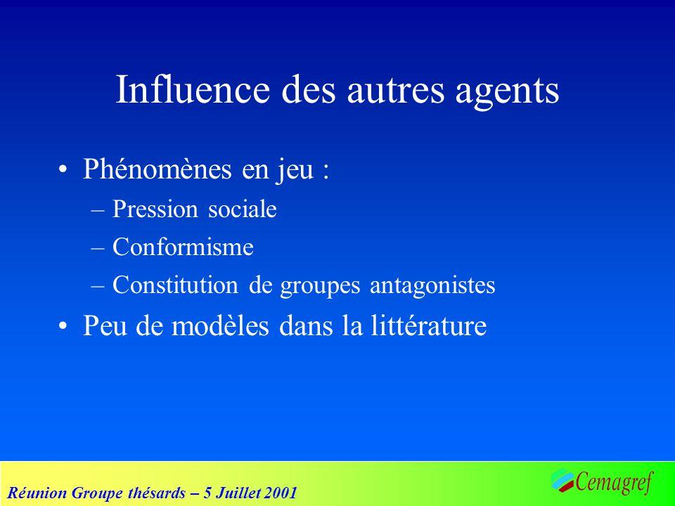 Réunion Groupe thésards – 5 Juillet 2001 Influence des autres agents Phénomènes en jeu : –Pression sociale –Conformisme –Constitution de groupes antag