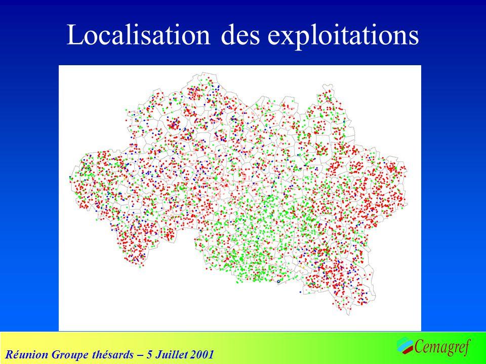 Réunion Groupe thésards – 5 Juillet 2001 Localisation des exploitations
