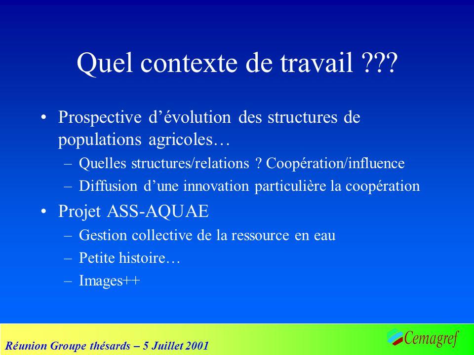 Réunion Groupe thésards – 5 Juillet 2001 Quel contexte de travail ??? Prospective dévolution des structures de populations agricoles… –Quelles structu