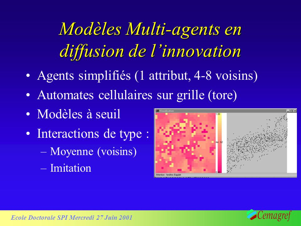 Ecole Doctorale SPI Mercredi 27 Juin 2001 Modèles Multi-agents en diffusion de linnovation Agents simplifiés (1 attribut, 4-8 voisins) Automates cellulaires sur grille (tore) Modèles à seuil Interactions de type : –Moyenne (voisins) –Imitation