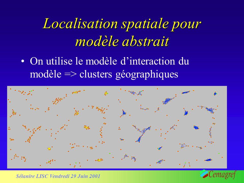 Séianire LISC Vendredi 29 Juin 2001 Localisation spatiale pour modèle abstrait On utilise le modèle dinteraction du modèle => clusters géographiques