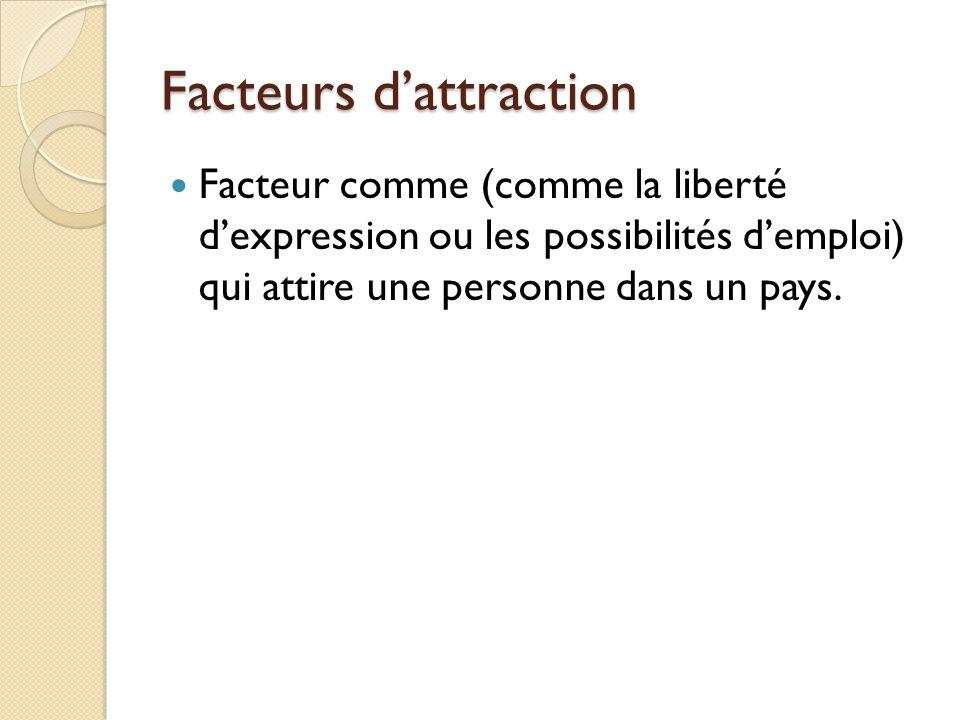 Facteurs dattraction Facteur comme (comme la liberté dexpression ou les possibilités demploi) qui attire une personne dans un pays.