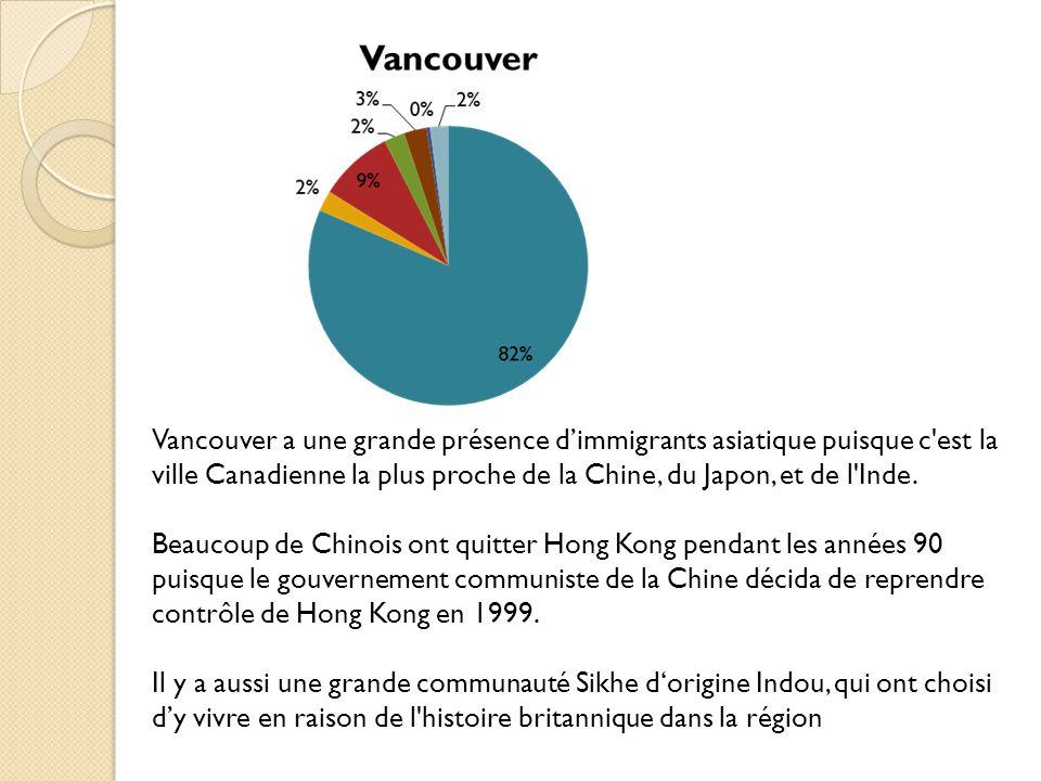 Vancouver a une grande présence dimmigrants asiatique puisque c est la ville Canadienne la plus proche de la Chine, du Japon, et de l Inde.