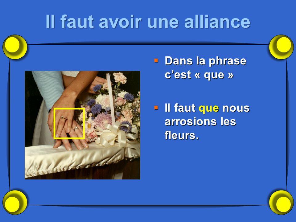 Il faut avoir une alliance Dans la phrase cest « que » Dans la phrase cest « que » Il faut que nous arrosions les fleurs. Il faut que nous arrosions l