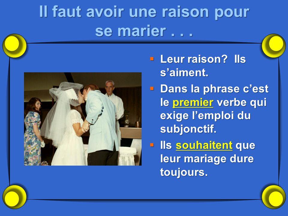 Il faut avoir une raison pour se marier... Leur raison? Ils saiment. Leur raison? Ils saiment. Dans la phrase cest le premier verbe qui exige lemploi