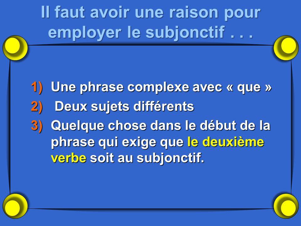 Il faut avoir une raison pour employer le subjonctif... 1)Une phrase complexe avec « que » 2) Deux sujets différents 3)Quelque chose dans le début de