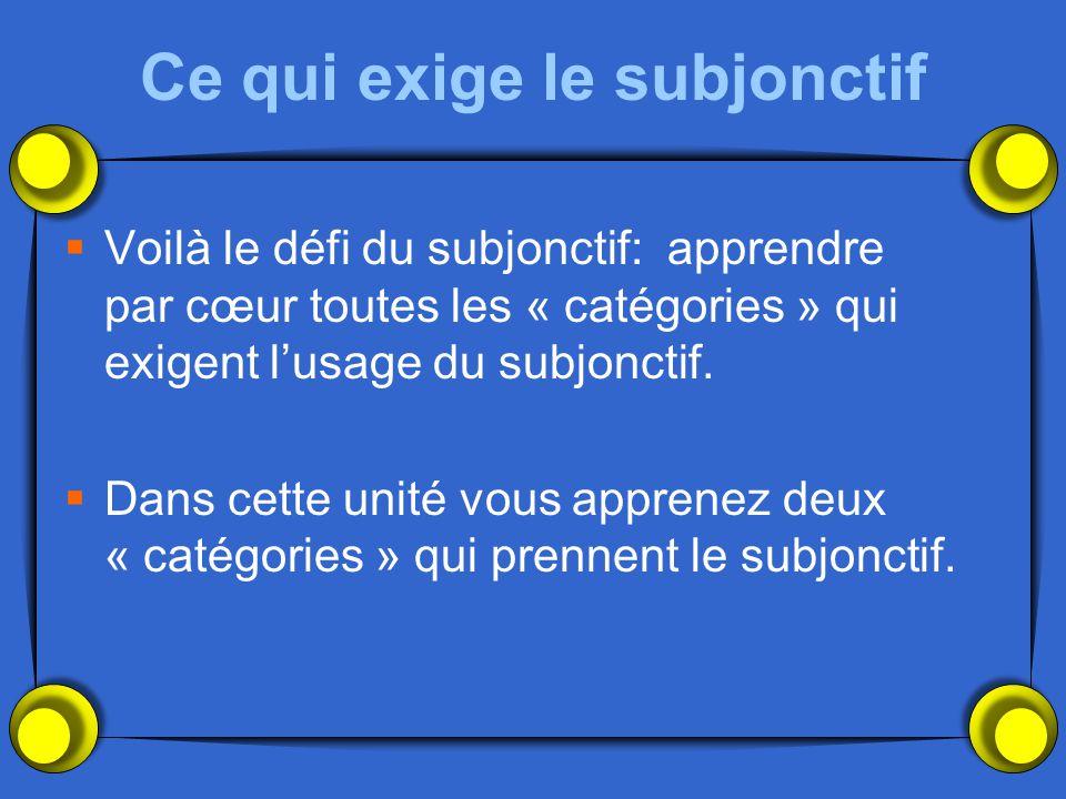 Ce qui exige le subjonctif Voilà le défi du subjonctif: apprendre par cœur toutes les « catégories » qui exigent lusage du subjonctif. Dans cette unit