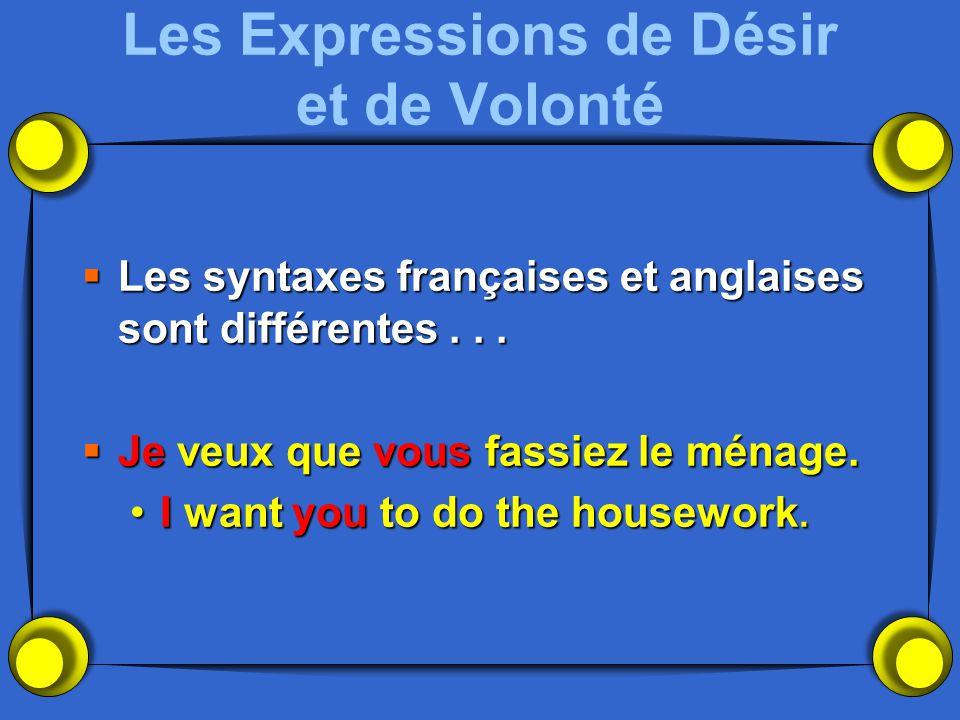 Les Expressions de Désir et de Volonté Les syntaxes françaises et anglaises sont différentes... Les syntaxes françaises et anglaises sont différentes.