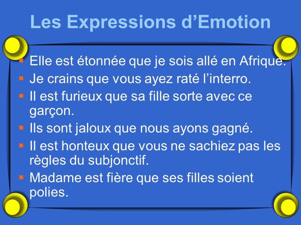 Les Expressions dEmotion Elle est étonnée que je sois allé en Afrique. Je crains que vous ayez raté linterro. Il est furieux que sa fille sorte avec c