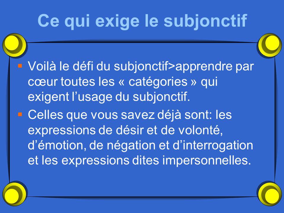 Pour employer le subjonctif il faut avoir…. 1)Une phrase complexe avec que 2) Deux sujets différents 3)Quelque chose qui exige le subjonctif. La plupa