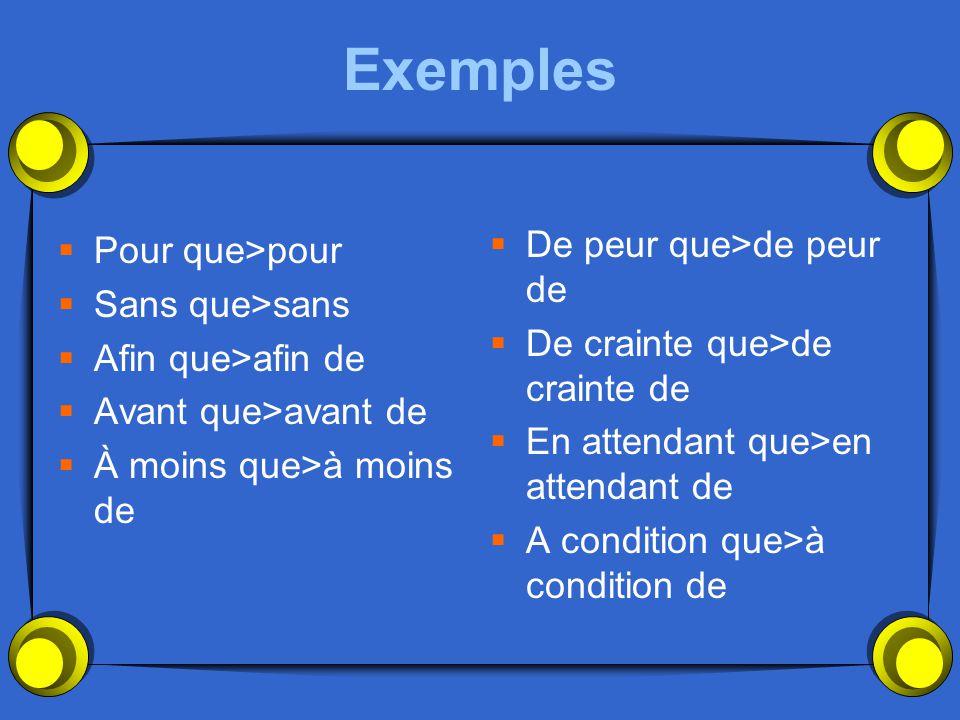 Les autres conjonctions deviennent des prépositions suivies dun infinitif quand les sujets sont les mêmes….