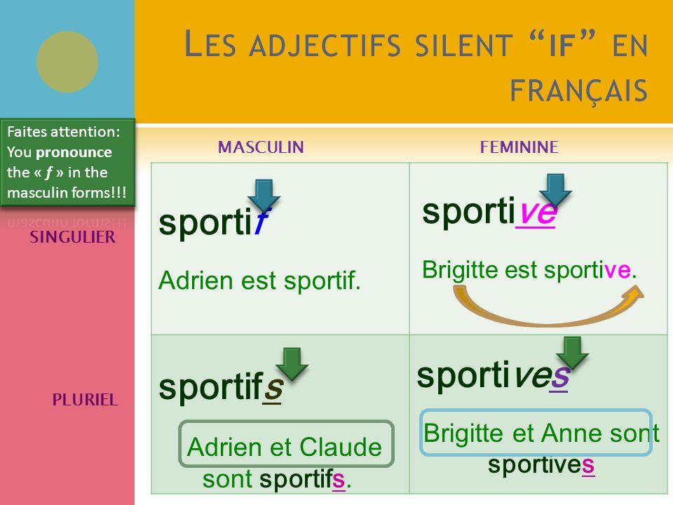 L ES ADJECTIFS SILENT IF EN FRANÇAIS MASCULINFEMININE SINGULIER PLURIEL sportif Adrien est sportif.