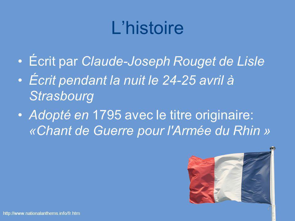 Lhistoire Écrit par Claude-Joseph Rouget de Lisle Écrit pendant la nuit le 24-25 avril à Strasbourg Adopté en 1795 avec le titre originaire: «Chant de