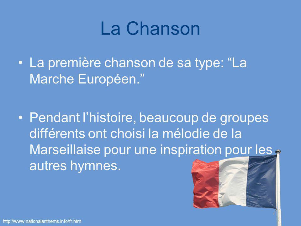 La Chanson La première chanson de sa type: La Marche Européen. Pendant lhistoire, beaucoup de groupes différents ont choisi la mélodie de la Marseilla