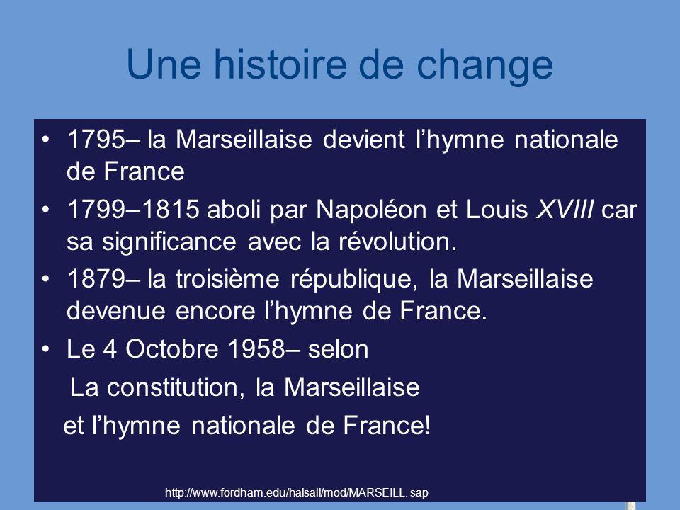 Une histoire de change 1795– la Marseillaise devient lhymne nationale de France 1799–1815 aboli par Napoléon et Louis XVIII car sa significance avec l