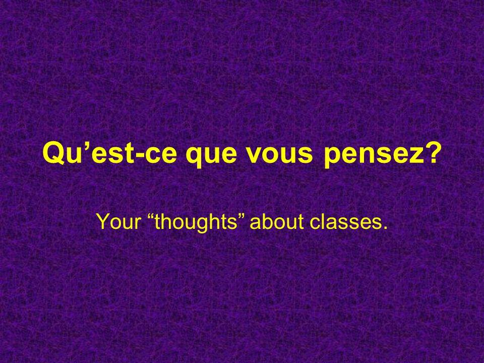 Quest-ce que vous pensez? Your thoughts about classes.