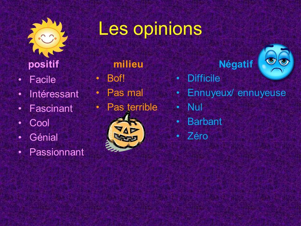 Les opinions positif Facile Intéressant Fascinant Cool Génial Passionnant Négatif Difficile Ennuyeux/ ennuyeuse Nul Barbant Zéro milieu Bof.