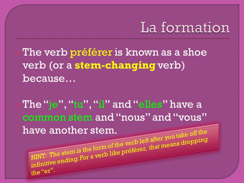 The verb préférer is known as a shoe verb (or a stem-changing verb) because… The je, tu, il and elles have a common stem and nous and vous have anothe
