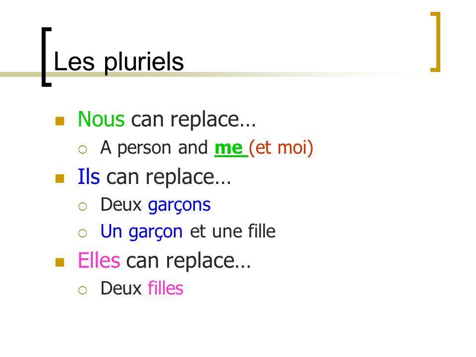 Les pluriels Nous can replace… A person and me (et moi) Ils can replace… Deux garçons Un garçon et une fille Elles can replace… Deux filles