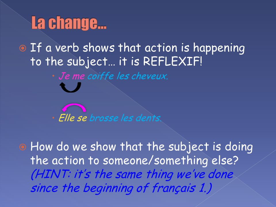 If a verb shows that action is happening to the subject… it is REFLEXIF! Je me coiffe les cheveux. Elle se brosse les dents. How do we show that the s