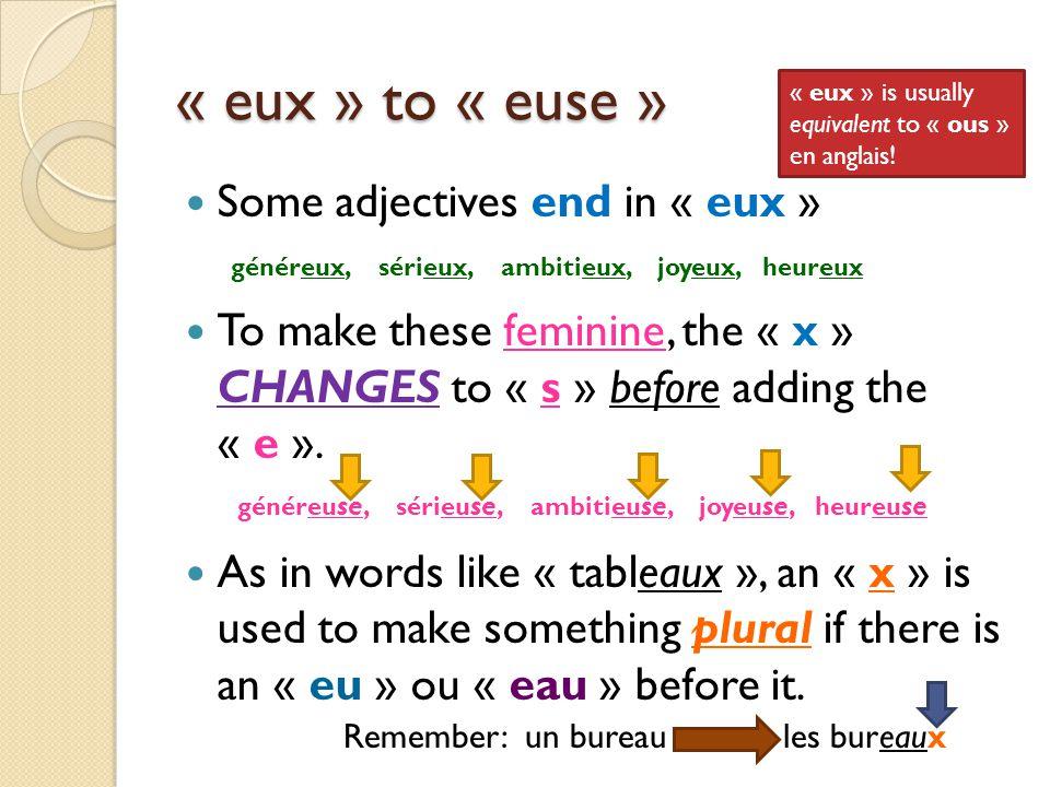 Les adjectifs eux en français MASCULIN FEMININE SINGULIER PLURIEL généreux Raoul est généreux.