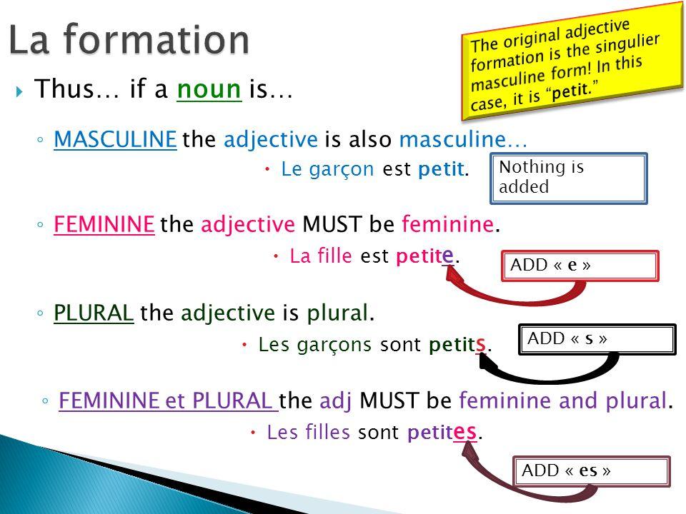 Thus… if a noun is… MASCULINE the adjective is also masculine… Le garçon est petit. FEMININE the adjective MUST be feminine. La fille est petit e. PLU