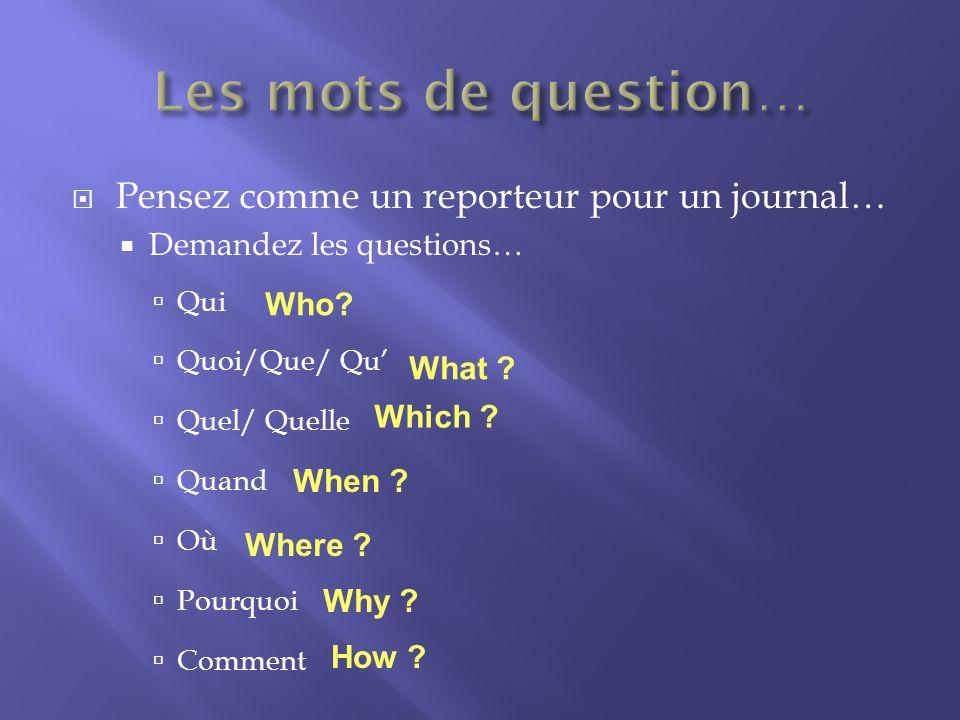 Pensez comme un reporteur pour un journal… Demandez les questions… Qui Quoi/Que/ Qu Quel/ Quelle Quand Où Pourquoi Comment Who.