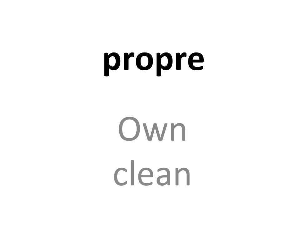 propre Own clean