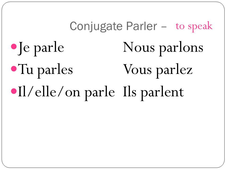 Conjugate Parler – Je parleNous parlons Tu parlesVous parlez Il/elle/on parleIls parlent to speak