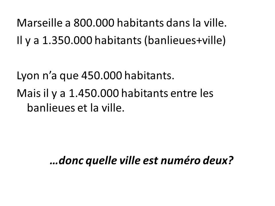 Marseille a 800.000 habitants dans la ville. Il y a 1.350.000 habitants (banlieues+ville) Lyon na que 450.000 habitants. Mais il y a 1.450.000 habitan