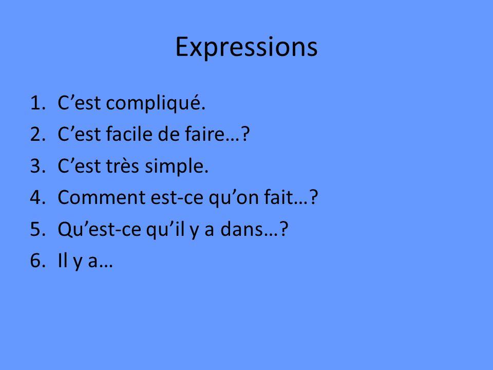 Expressions 1.Cest compliqué. 2.Cest facile de faire…? 3.Cest très simple. 4.Comment est-ce quon fait…? 5.Quest-ce quil y a dans…? 6.Il y a…