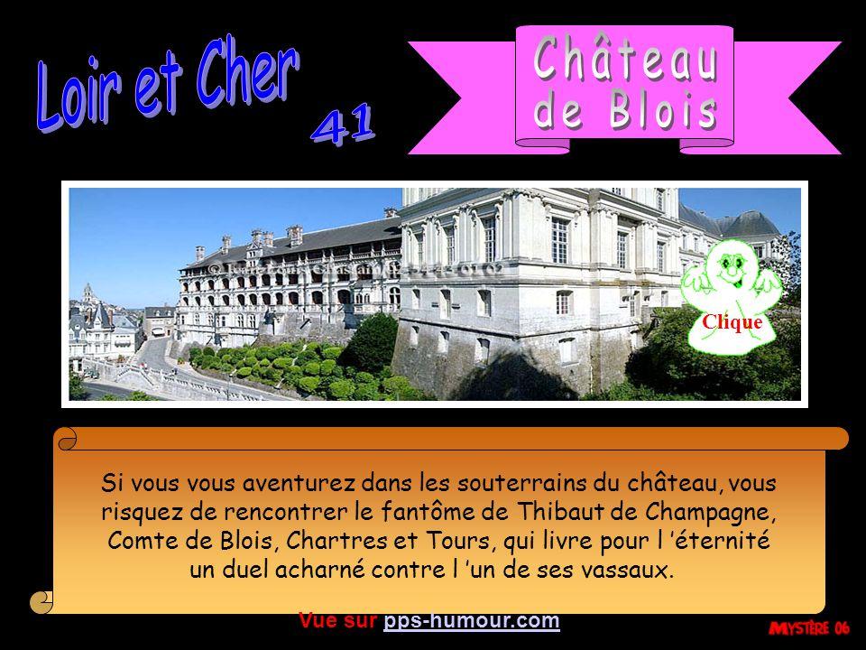 Si vous vous aventurez dans les souterrains du château, vous risquez de rencontrer le fantôme de Thibaut de Champagne, Comte de Blois, Chartres et Tours, qui livre pour l éternité un duel acharné contre l un de ses vassaux.