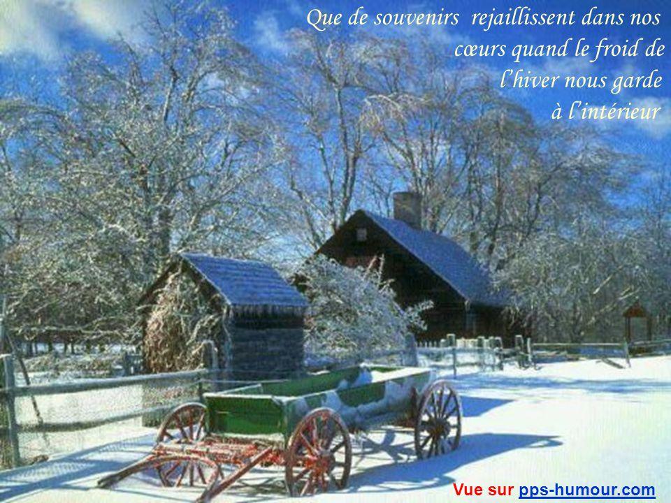 Quand on regarde cette belle neige blanche qui brille au clair de lune comme de vrais diamants… comment ne pas se souvenir…quand ta maman était là…assis tous les deux près du feu… Vue sur pps-humour.compps-humour.com
