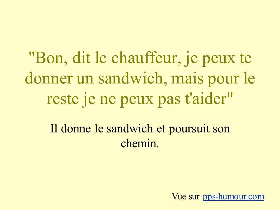 Bon, dit le chauffeur, je peux te donner un sandwich, mais pour le reste je ne peux pas t aider Il donne le sandwich et poursuit son chemin.