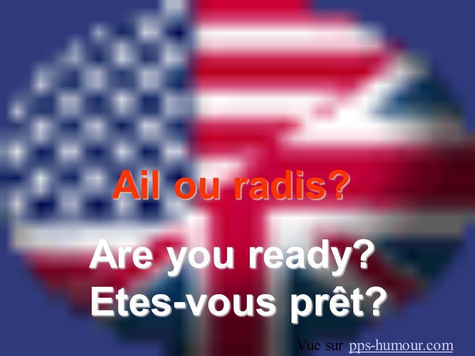 Ail ou radis? Are you ready? Etes-vous prêt? Vue sur pps-humour.compps-humour.com