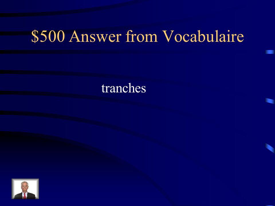 $500 Question from Vocabulaire Si on veut préparer des sandwichs, il faut des _________ de jambon.