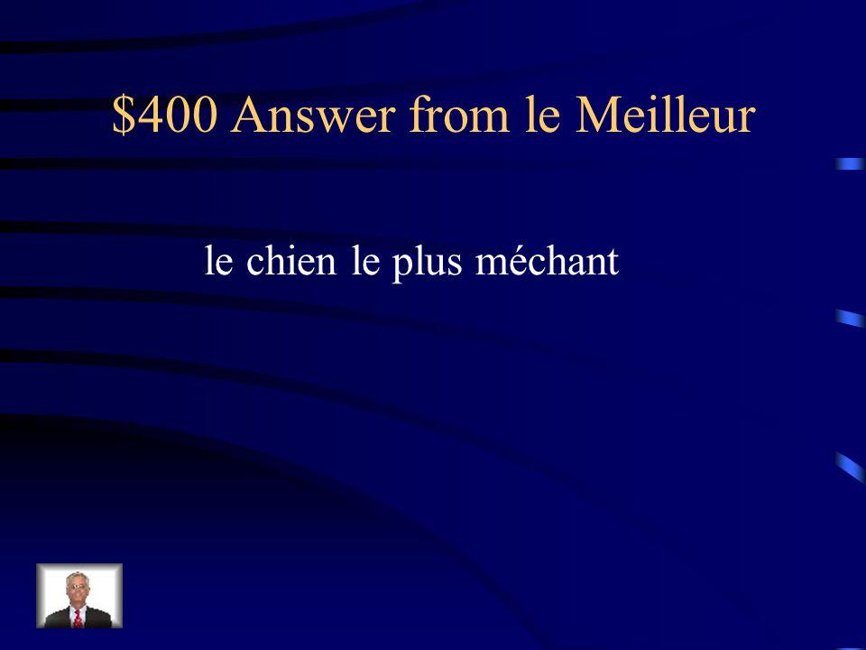 $400 Question from le Meilleur Cest ___ ____ ____ (the meanest dog) du voisinage.