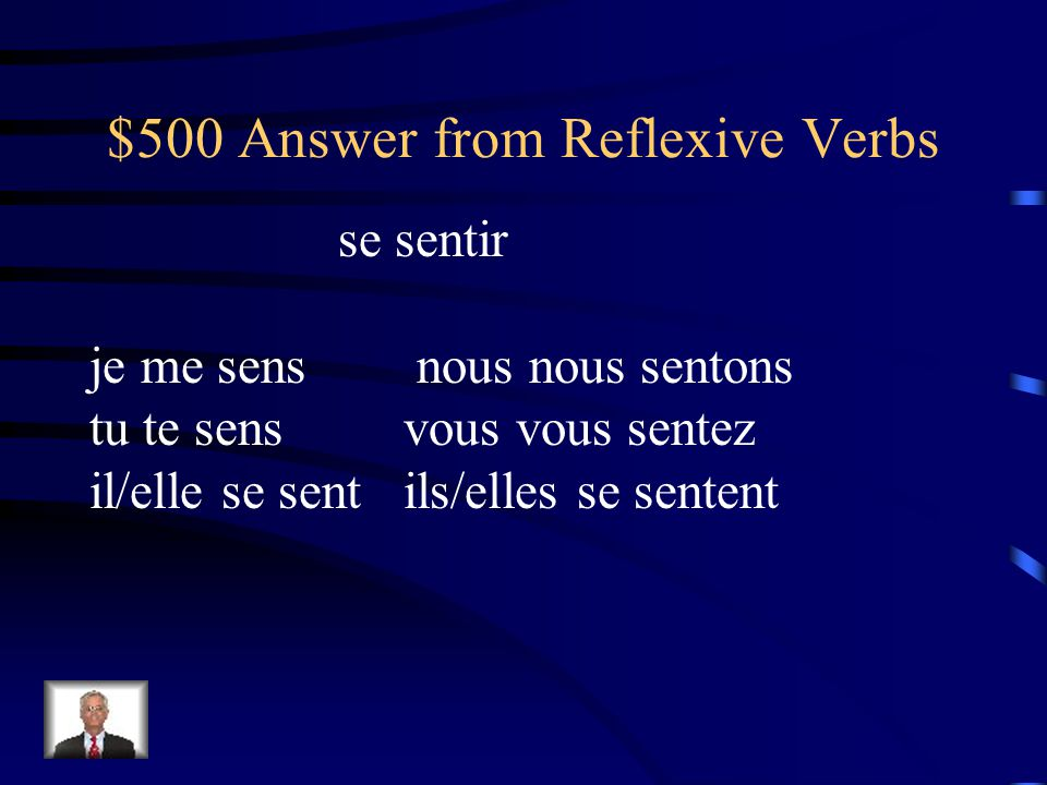 $500 Question from Reflexive Verbs Comment dit-on to feel - Conjuguez au présent