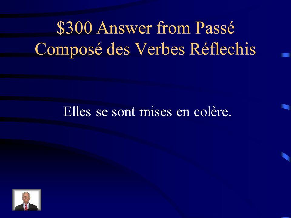 $300 Question from Passé Composé des Verbes Réflechis Elles _____ [got angry] en colère.