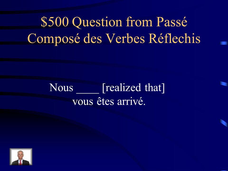 $400 Answer from Passé Composé des Verbes Réflechis Ils se sont trompés.